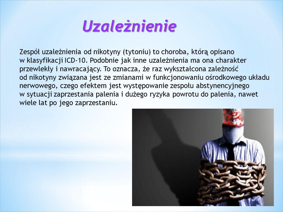 Uzależnienie Zespół uzależnienia od nikotyny (tytoniu) to choroba, którą opisano w klasyfikacji ICD-10.