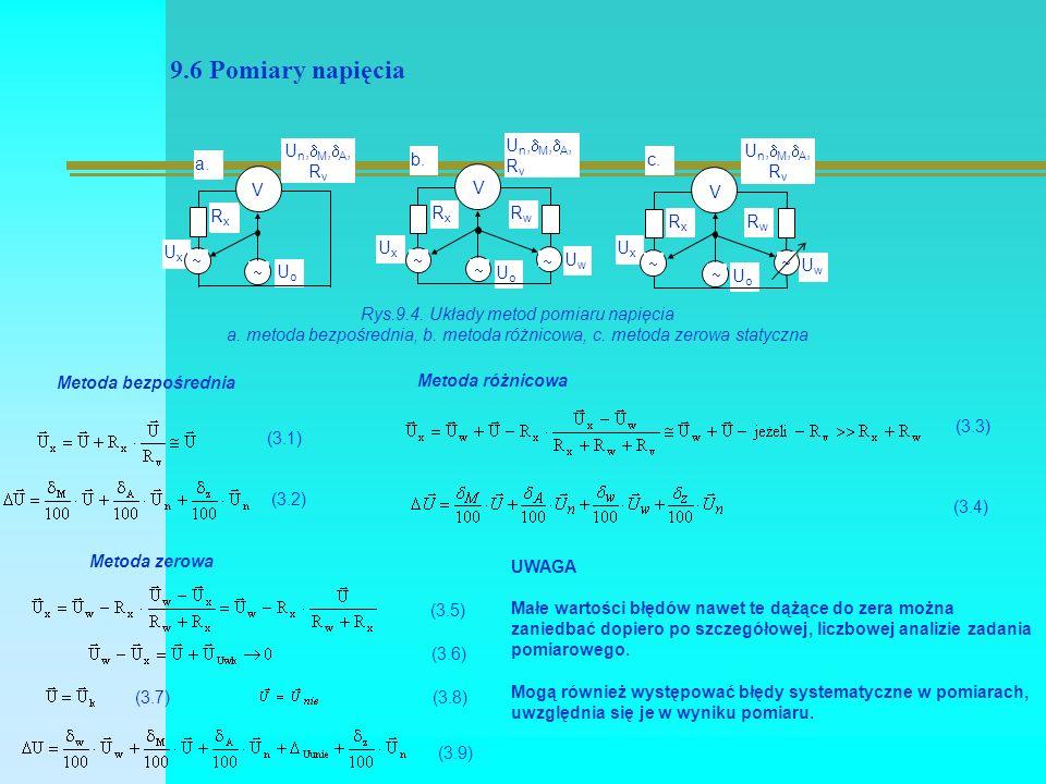 9.6 Pomiary napięcia UxUx UoUo UwUw UoUo   Un,M,A,RvUn,M,A,Rv RxRx a.