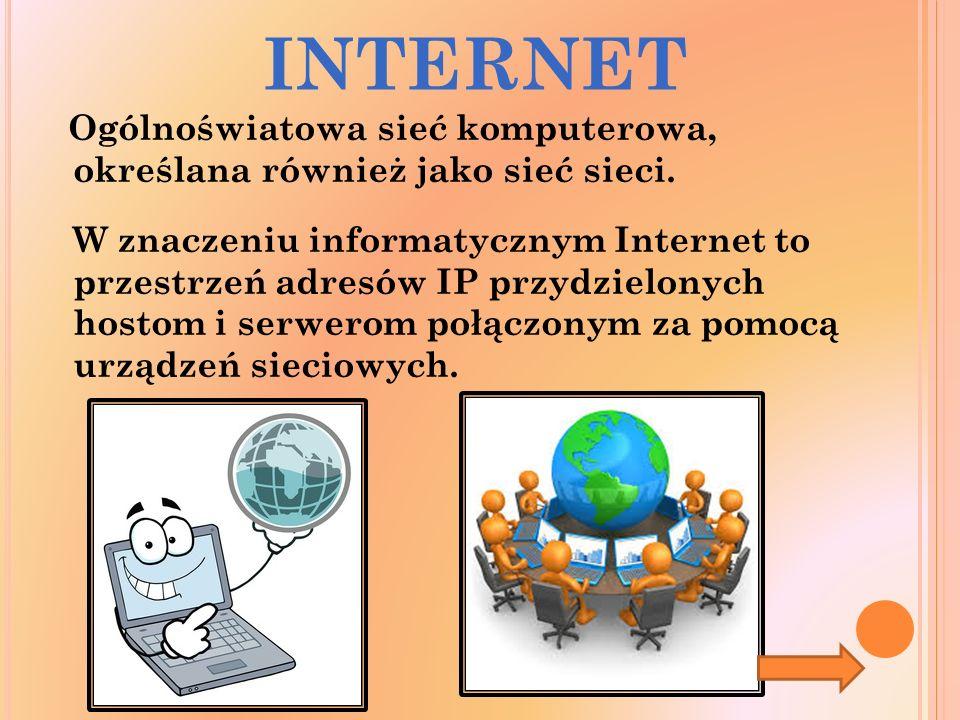 INTERNET Ogólnoświatowa sieć komputerowa, określana również jako sieć sieci.