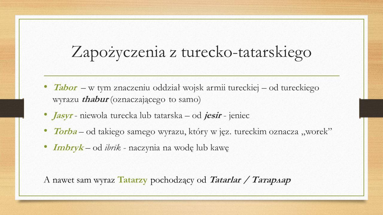 Zapożyczenia z turecko-tatarskiego Tabor – w tym znaczeniu oddział wojsk armii tureckiej – od tureckiego wyrazu thabur (oznaczającego to samo) Jasyr -