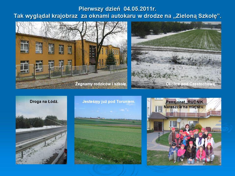 """Pierwszy dzień 04.05.2011r. Tak wyglądał krajobraz za oknami autokaru w drodze na """"Zieloną Szkołę ."""