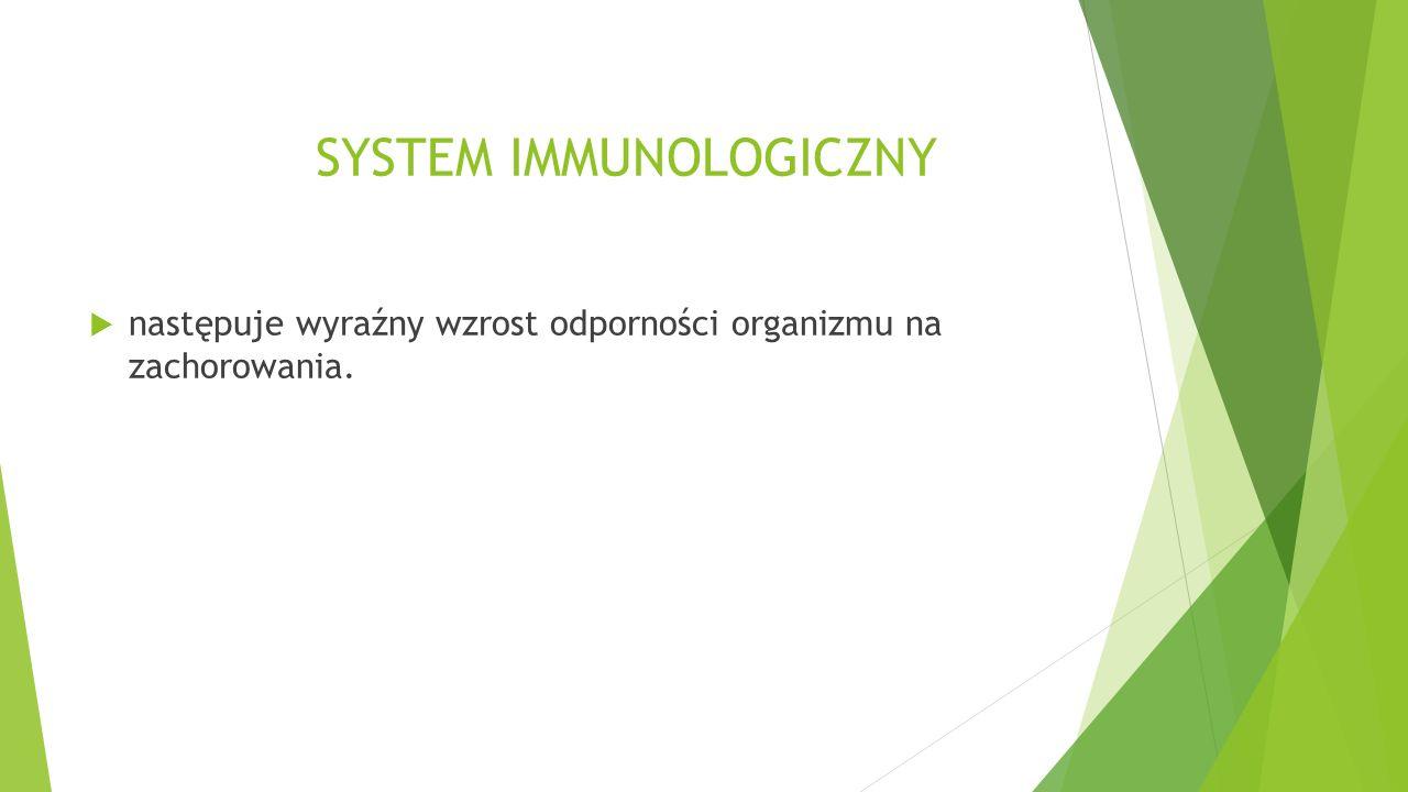 SYSTEM IMMUNOLOGICZNY  następuje wyraźny wzrost odporności organizmu na zachorowania.