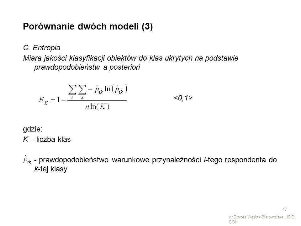 Porównanie dwóch modeli (3) C. Entropia Miara jakości klasyfikacji obiektów do klas ukrytych na podstawie prawdopodobieństw a posteriori gdzie: K – li