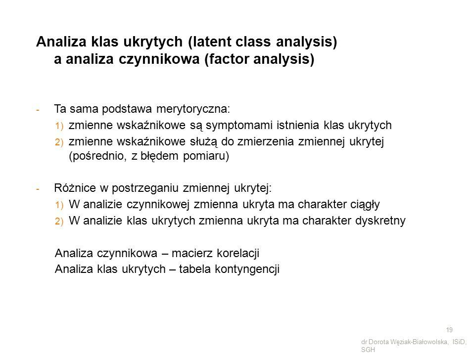 Analiza klas ukrytych (latent class analysis) a analiza czynnikowa (factor analysis) - Ta sama podstawa merytoryczna: 1) zmienne wskaźnikowe są sympto