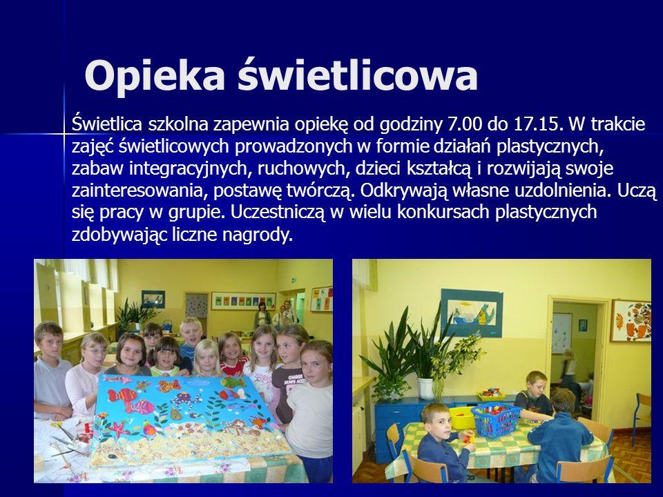 Opieka świetlicowa Świetlica szkolna zapewnia opiekę od godziny 7.00 do 17.15. W trakcie zajęć świetlicowych prowadzonych w formie działań plastycznyc