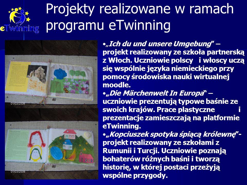 """Projekty realizowane w ramach programu eTwinning """"Ich du und unsere Umgebung"""" – projekt realizowany ze szkoła partnerską z Włoch. Uczniowie polscy i w"""