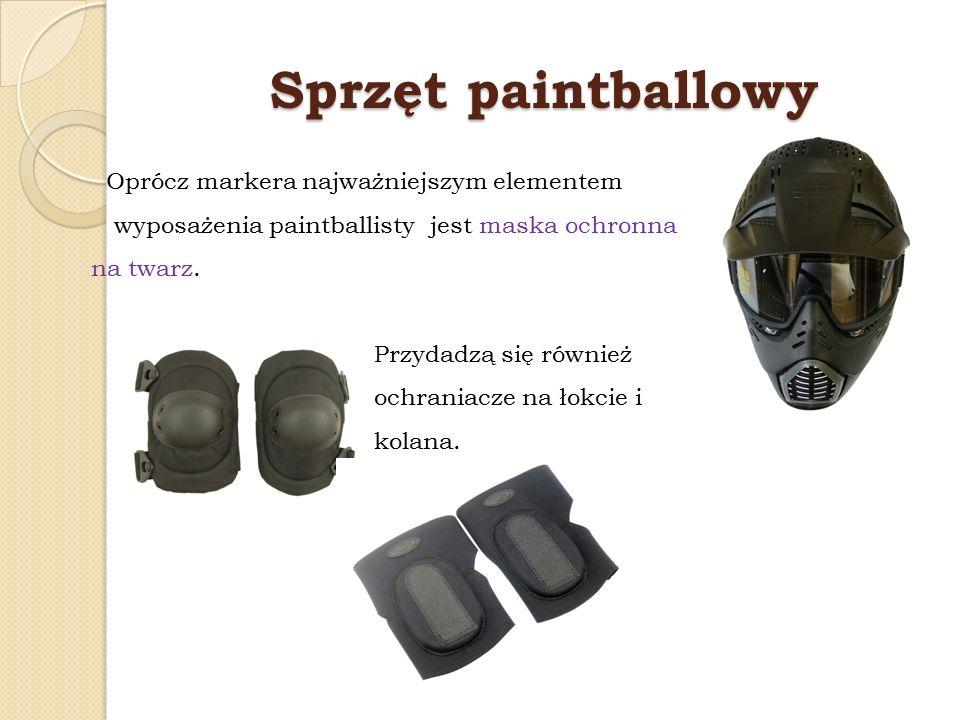 Sprzęt paintballowy Oprócz markera najważniejszym elementem wyposażenia paintballisty jest maska ochronna na twarz. Przydadzą się również ochraniacze