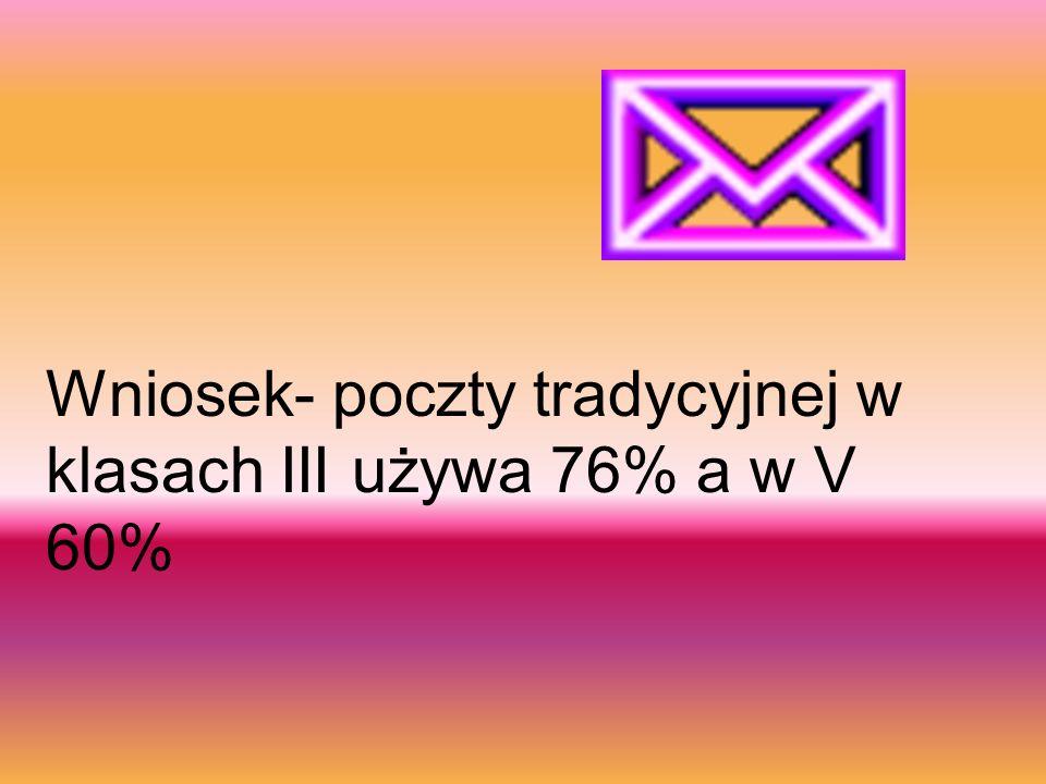 Wniosek- poczty tradycyjnej w klasach III używa 76% a w V 60%