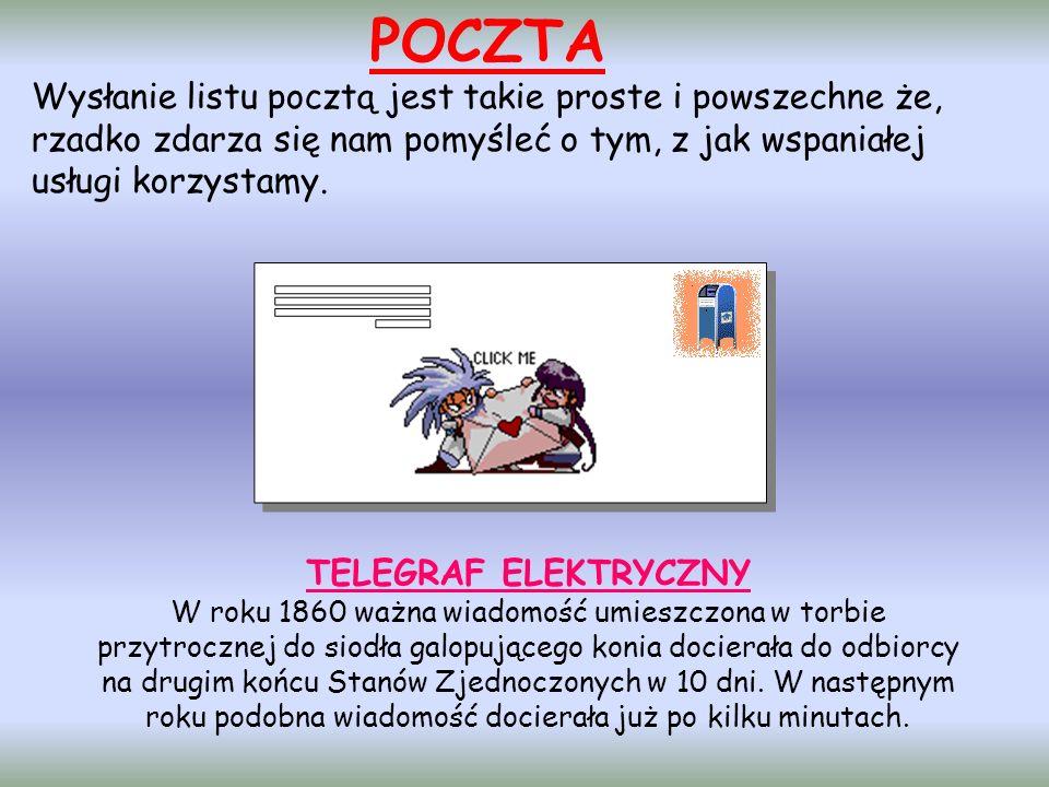 POCZTA Wysłanie listu pocztą jest takie proste i powszechne że, rzadko zdarza się nam pomyśleć o tym, z jak wspaniałej usługi korzystamy. TELEGRAF ELE