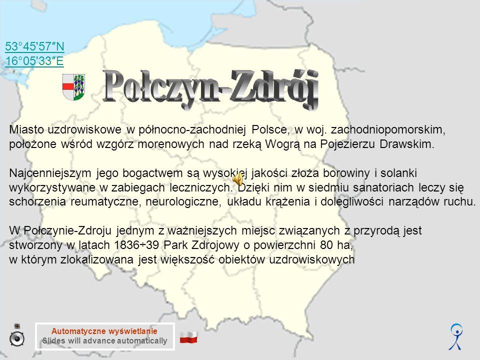 53°45 57″N 16°05 33″E Automatyczne wyświetlanie Slides will advance automatically Miasto uzdrowiskowe w północno-zachodniej Polsce, w woj.