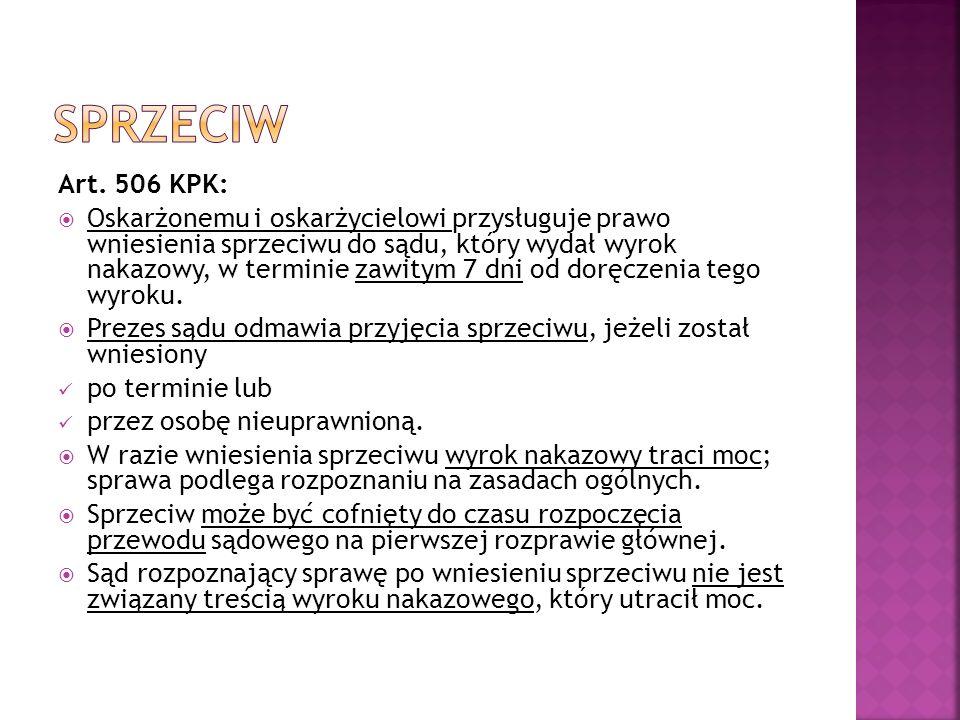 Art. 506 KPK:  Oskarżonemu i oskarżycielowi przysługuje prawo wniesienia sprzeciwu do sądu, który wydał wyrok nakazowy, w terminie zawitym 7 dni od d