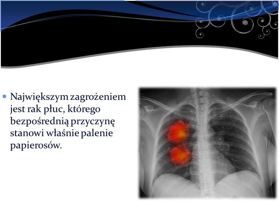 Największym zagrożeniem jest rak płuc, którego bezpośrednią przyczynę stanowi właśnie palenie papierosów.