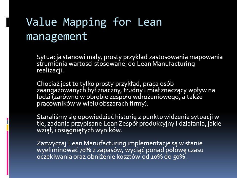 Value Mapping for Lean management Sytuacja stanowi mały, prosty przykład zastosowania mapowania strumienia wartości stosowanej do Lean Manufacturing r