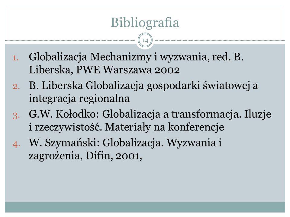Bibliografia 1. Globalizacja Mechanizmy i wyzwania, red.
