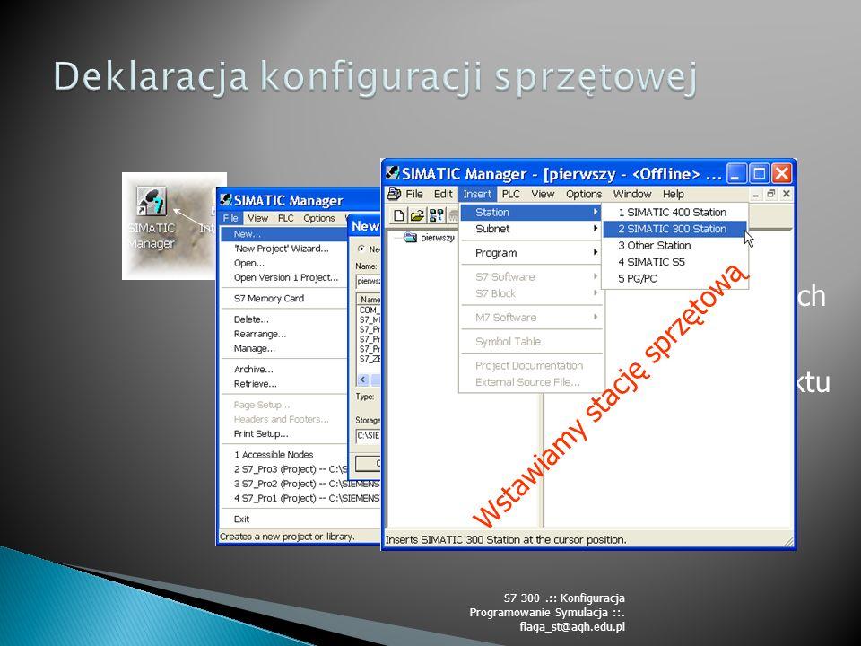 Ikona Simatic Managera Nazwa projektu Lista zrealizowanych projektów Ścieżka do projektu Struktura projektu Zawartość elementów Projektu Wstawiamy stację sprzętową