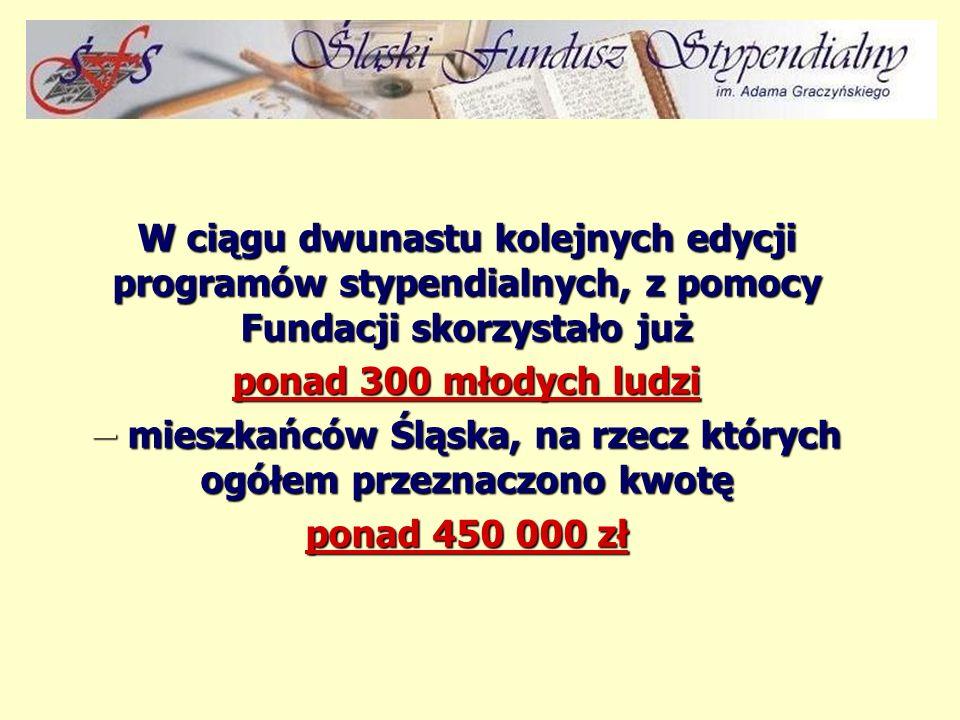 W ciągu dwunastu kolejnych edycji programów stypendialnych, z pomocy Fundacji skorzystało już ponad 300 młodych ludzi – mieszkańców Śląska, na rzecz których ogółem przeznaczono kwotę ponad 450 000 zł