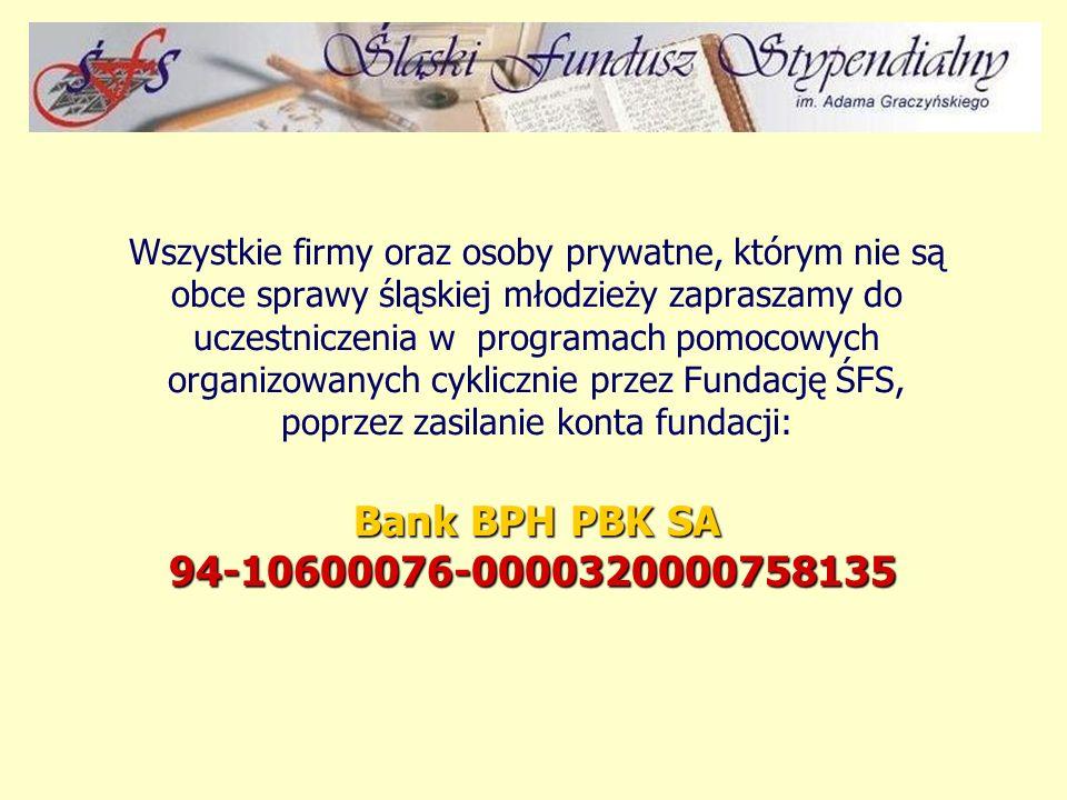 Wszystkie firmy oraz osoby prywatne, którym nie są obce sprawy śląskiej młodzieży zapraszamy do uczestniczenia w programach pomocowych organizowanych cyklicznie przez Fundację ŚFS, poprzez zasilanie konta fundacji: Bank BPH PBK SA 94-10600076-0000320000758135 Bank BPH PBK SA 94-10600076-0000320000758135