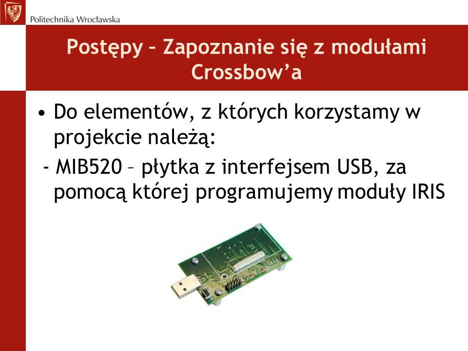 Postępy – Zapoznanie się z modułami Crossbow'a Do elementów, z których korzystamy w projekcie należą: - MIB520 – płytka z interfejsem USB, za pomocą k