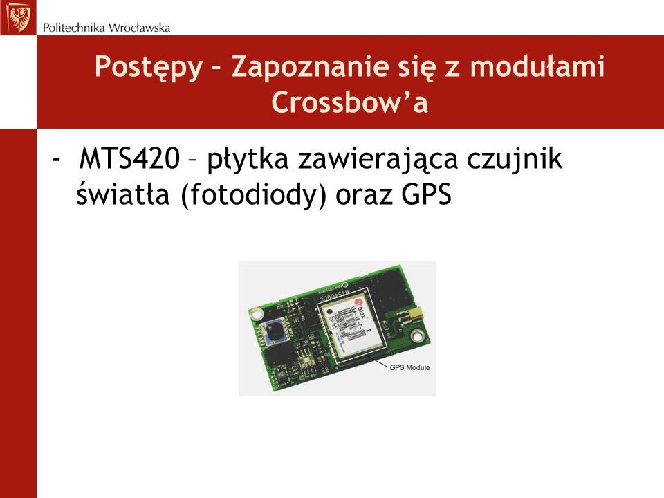 Postępy – Zapoznanie się z modułami Crossbow'a - MTS420 – płytka zawierająca czujnik światła (fotodiody) oraz GPS
