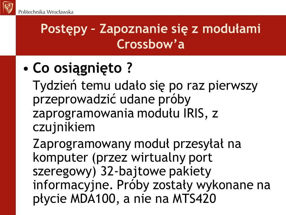 Postępy – Zapoznanie się z modułami Crossbow'a Co osiągnięto ? Tydzień temu udało się po raz pierwszy przeprowadzić udane próby zaprogramowania modułu