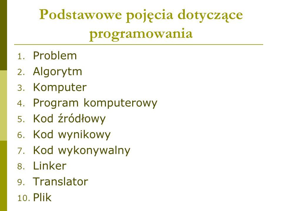 Podstawowe pojęcia dotyczące programowania 1. Problem 2.