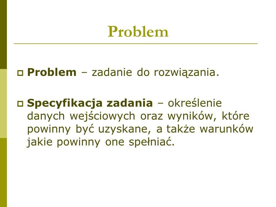 Problem  Problem – zadanie do rozwiązania.