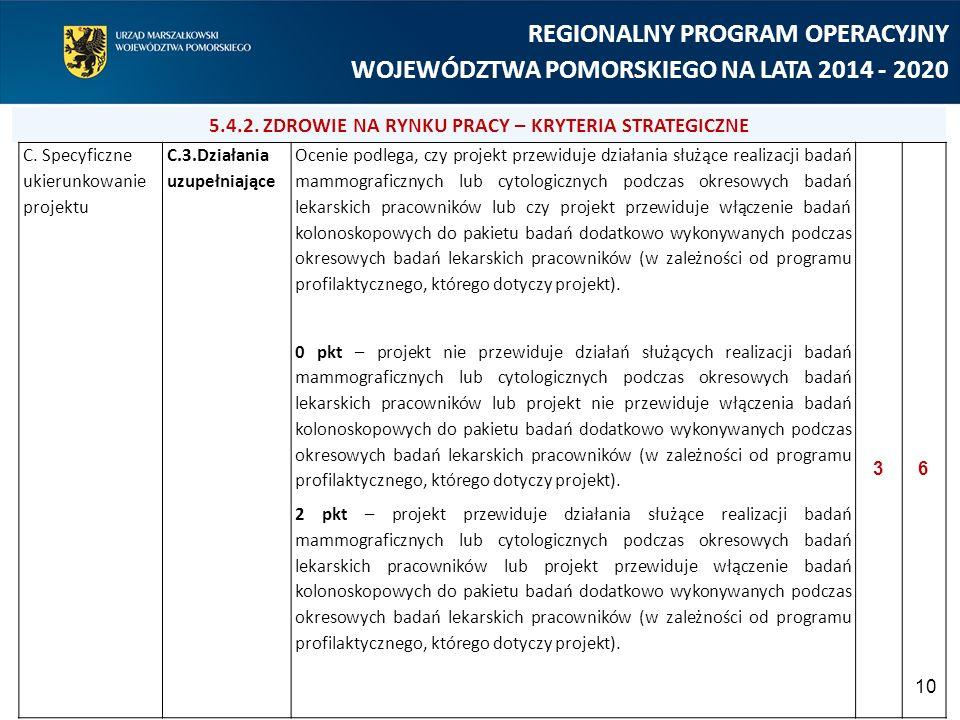 10 REGIONALNY PROGRAM OPERACYJNY WOJEWÓDZTWA POMORSKIEGO NA LATA 2014 - 2020 C. Specyficzne ukierunkowanie projektu C.3.Działania uzupełniające Ocenie