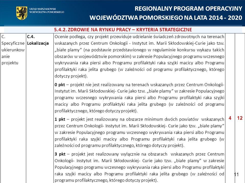 11 REGIONALNY PROGRAM OPERACYJNY WOJEWÓDZTWA POMORSKIEGO NA LATA 2014 - 2020 C. Specyficzne ukierunkow anie projektu C.4. Lokalizacja Ocenie podlega,