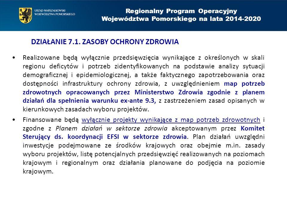 Realizowane będą wyłącznie przedsięwzięcia wynikające z określonych w skali regionu deficytów i potrzeb zidentyfikowanych na podstawie analizy sytuacji demograficznej i epidemiologicznej, a także faktycznego zapotrzebowania oraz dostępności infrastruktury ochrony zdrowia, z uwzględnieniem map potrzeb zdrowotnych opracowanych przez Ministerstwo Zdrowia zgodnie z planem działań dla spełnienia warunku ex-ante 9.3, z zastrzeżeniem zasad opisanych w kierunkowych zasadach wyboru projektów.