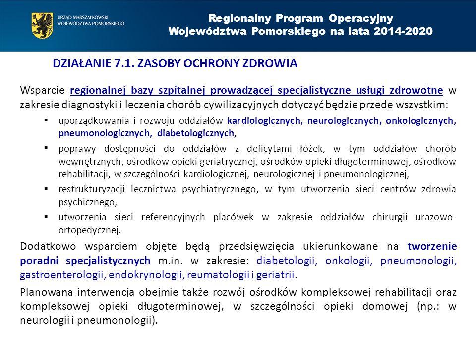 Wsparcie regionalnej bazy szpitalnej prowadzącej specjalistyczne usługi zdrowotne w zakresie diagnostyki i leczenia chorób cywilizacyjnych dotyczyć będzie przede wszystkim:  uporządkowania i rozwoju oddziałów kardiologicznych, neurologicznych, onkologicznych, pneumonologicznych, diabetologicznych,  poprawy dostępności do oddziałów z deficytami łóżek, w tym oddziałów chorób wewnętrznych, ośrodków opieki geriatrycznej, ośrodków opieki długoterminowej, ośrodków rehabilitacji, w szczególności kardiologicznej, neurologicznej i pneumonologicznej,  restrukturyzacji lecznictwa psychiatrycznego, w tym utworzenia sieci centrów zdrowia psychicznego,  utworzenia sieci referencyjnych placówek w zakresie oddziałów chirurgii urazowo- ortopedycznej.