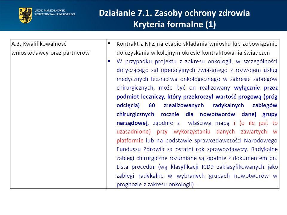 A.3. Kwalifikowalność wnioskodawcy oraz partnerów  Kontrakt z NFZ na etapie składania wniosku lub zobowiązanie do uzyskania w kolejnym okresie kontra