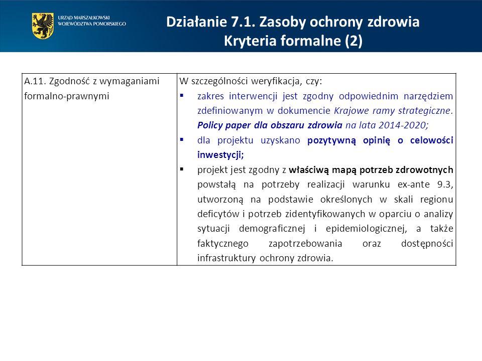 Działanie 7.1. Zasoby ochrony zdrowia Kryteria formalne (2) A.11. Zgodność z wymaganiami formalno-prawnymi W szczególności weryfikacja, czy:  zakres