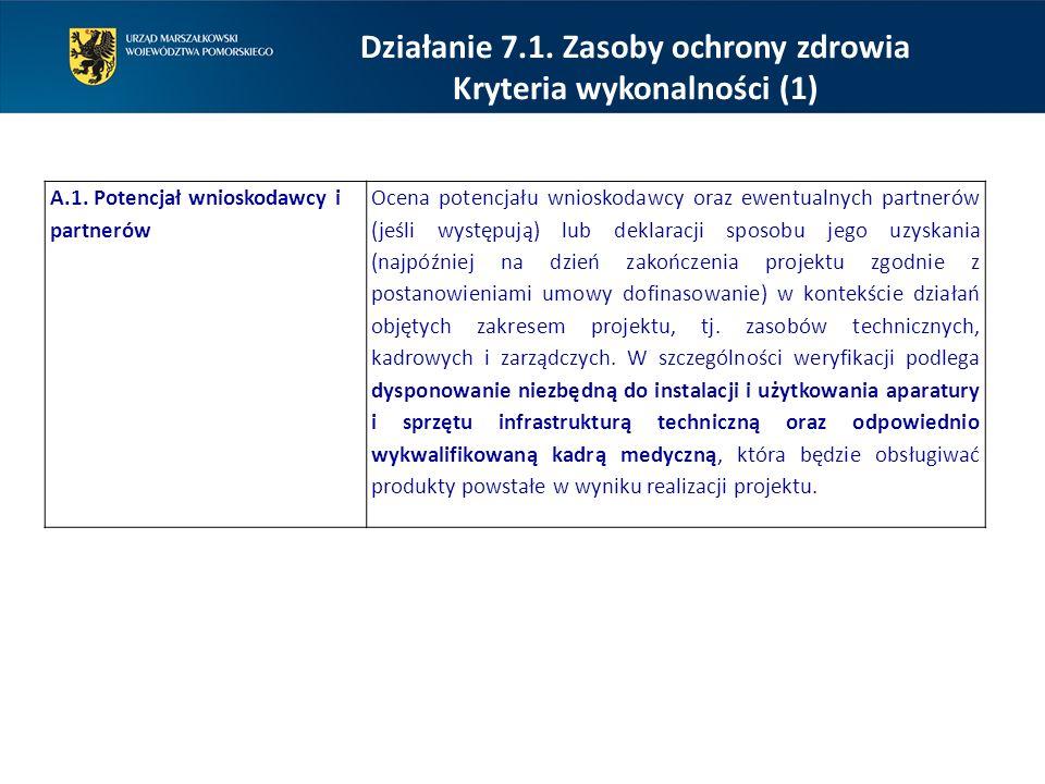 Działanie 7.1. Zasoby ochrony zdrowia Kryteria wykonalności (1) A.1. Potencjał wnioskodawcy i partnerów Ocena potencjału wnioskodawcy oraz ewentualnyc