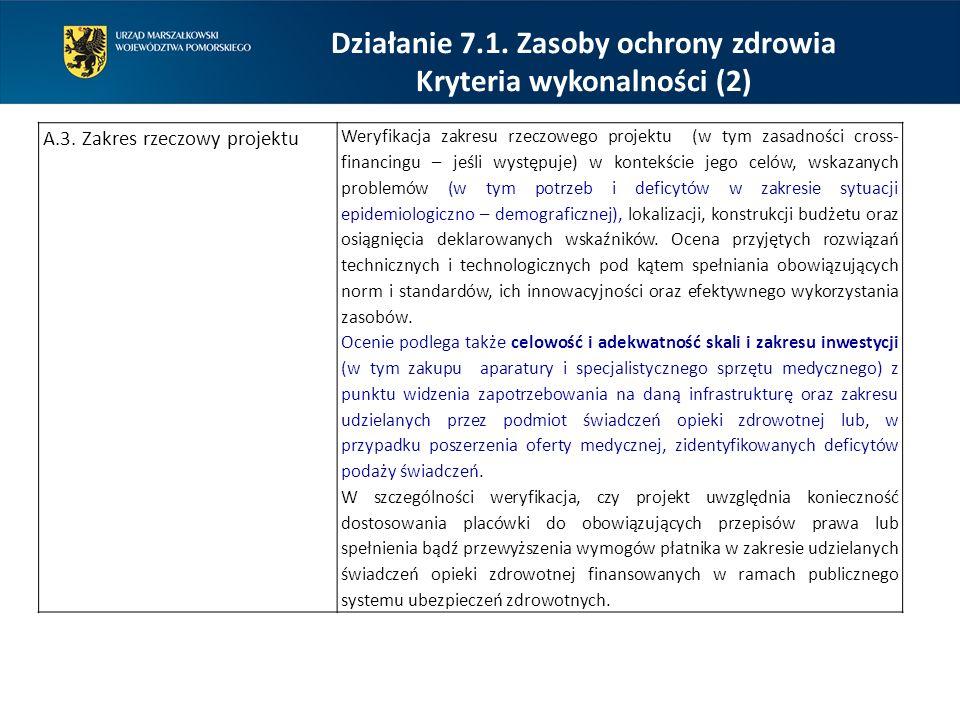 Działanie 7.1. Zasoby ochrony zdrowia Kryteria wykonalności (2) A.3. Zakres rzeczowy projektu Weryfikacja zakresu rzeczowego projektu (w tym zasadnośc