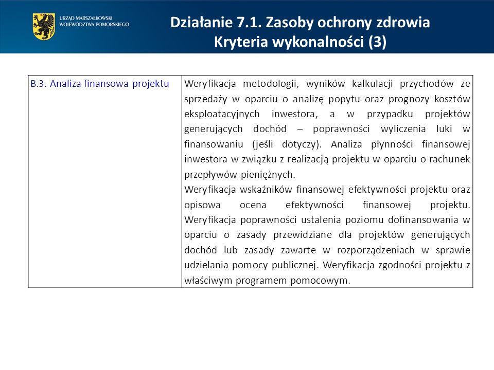 Działanie 7.1. Zasoby ochrony zdrowia Kryteria wykonalności (3) B.3. Analiza finansowa projektuWeryfikacja metodologii, wyników kalkulacji przychodów