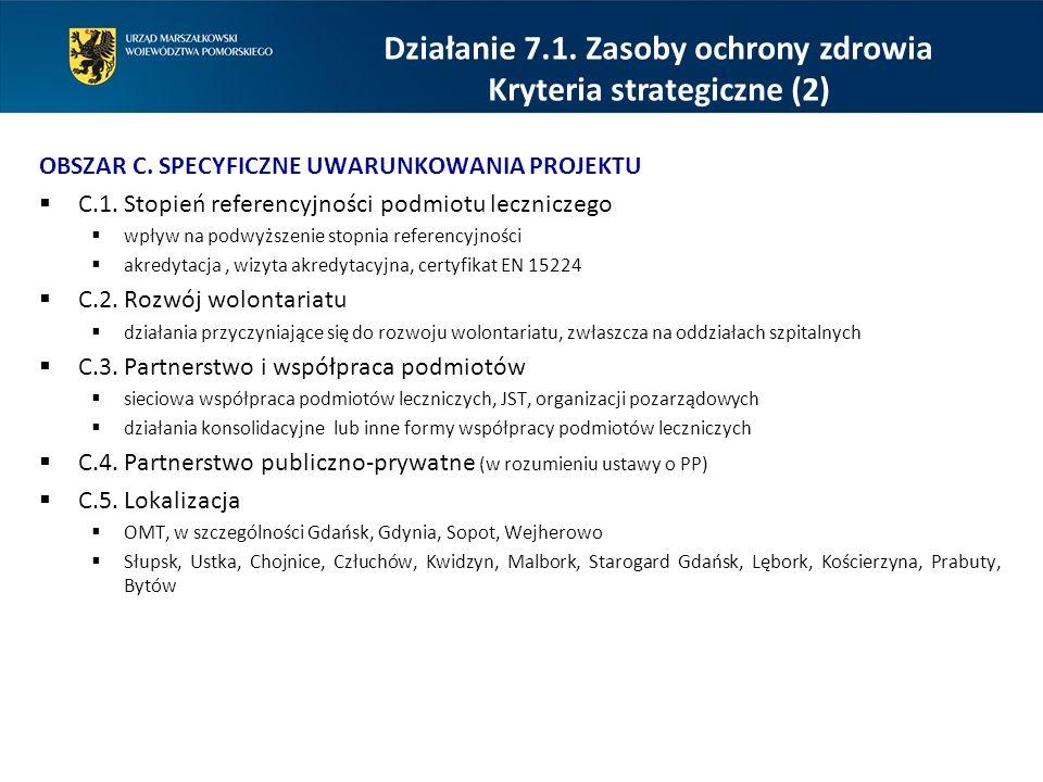 OBSZAR C.SPECYFICZNE UWARUNKOWANIA PROJEKTU  C.1.