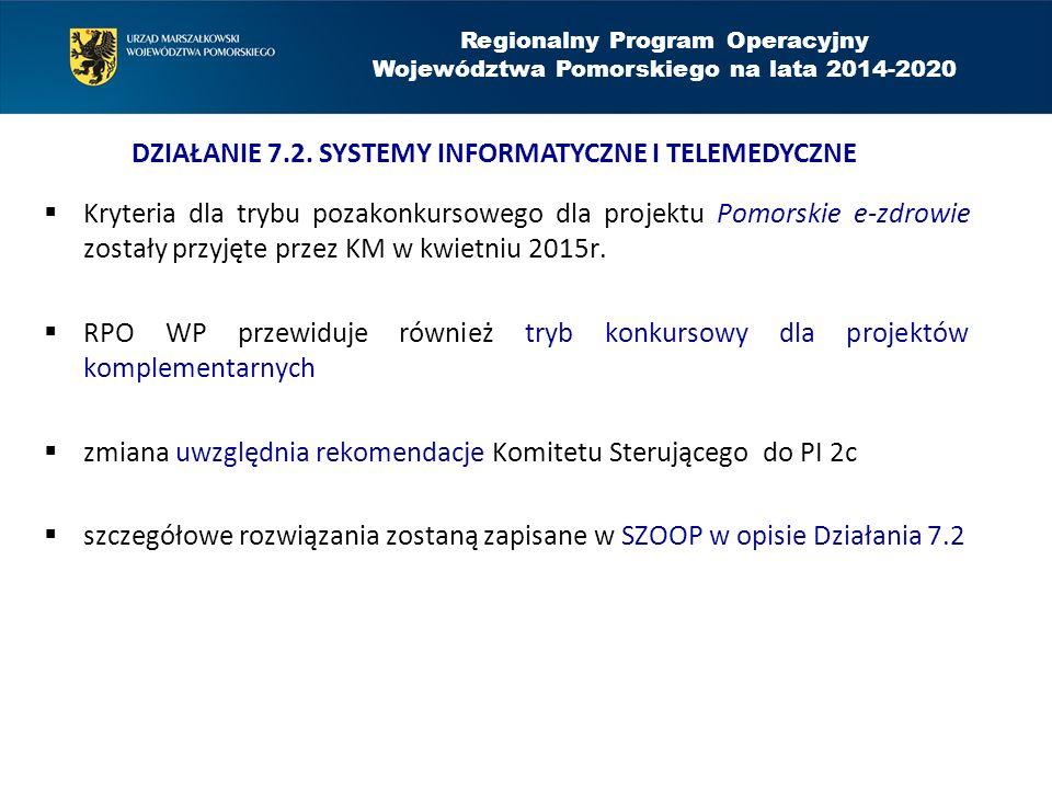  Kryteria dla trybu pozakonkursowego dla projektu Pomorskie e-zdrowie zostały przyjęte przez KM w kwietniu 2015r.  RPO WP przewiduje również tryb ko