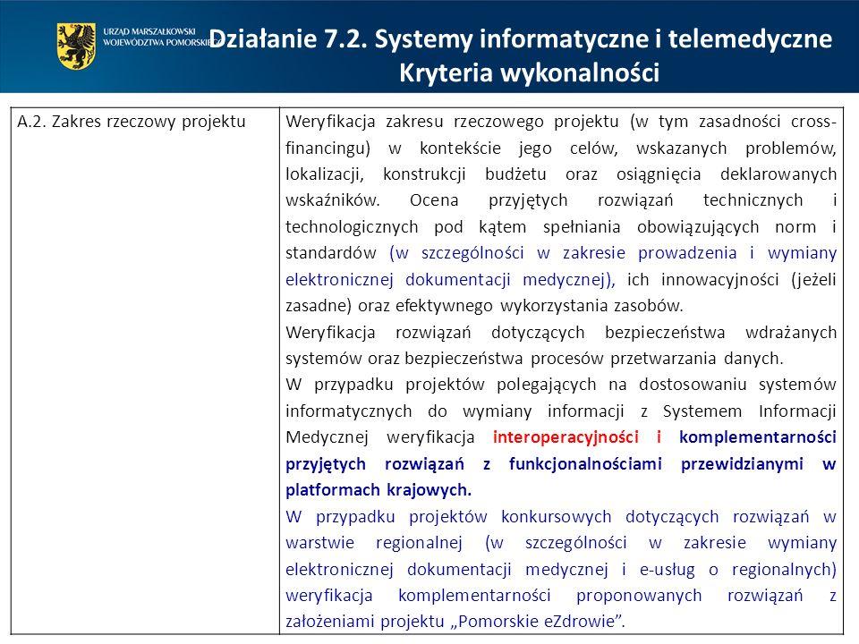 Działanie 7.2. Systemy informatyczne i telemedyczne Kryteria wykonalności A.2. Zakres rzeczowy projektuWeryfikacja zakresu rzeczowego projektu (w tym