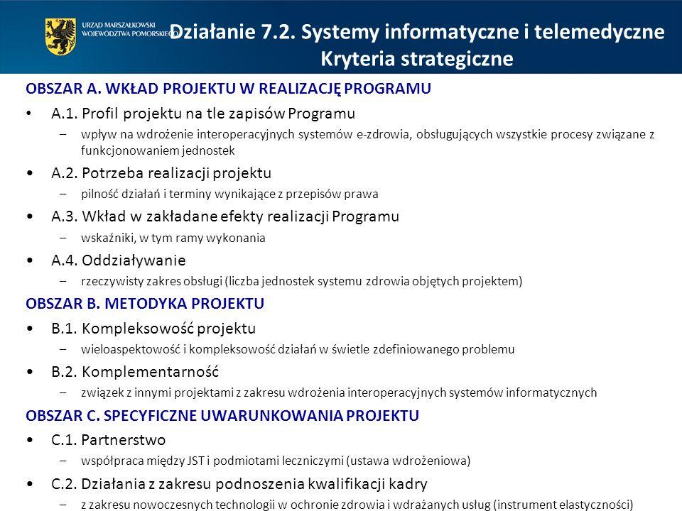 OBSZAR A. WKŁAD PROJEKTU W REALIZACJĘ PROGRAMU A.1. Profil projektu na tle zapisów Programu –wpływ na wdrożenie interoperacyjnych systemów e-zdrowia,