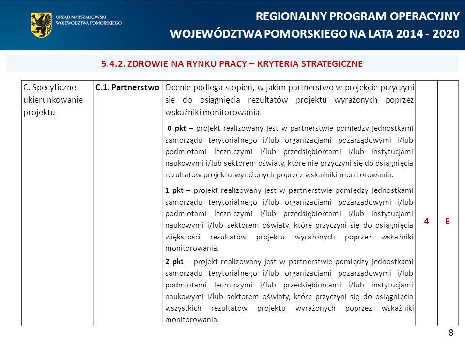 8 REGIONALNY PROGRAM OPERACYJNY WOJEWÓDZTWA POMORSKIEGO NA LATA 2014 - 2020 C. Specyficzne ukierunkowanie projektu C.1. Partnerstwo Ocenie podlega sto