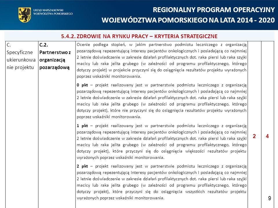 9 REGIONALNY PROGRAM OPERACYJNY WOJEWÓDZTWA POMORSKIEGO NA LATA 2014 - 2020 C. Specyficzne ukierunkowa nie projektu C.2. Partnerstwo z organizacją poz