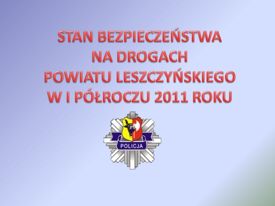 Porównanie liczby wypadków drogowych z ofiarami w ludziach (wypadki drogowe) z wypadkami drogowymi bez ofiar w ludziach (kolizje drogowe) w I półroczu roku 2011 oraz w analogicznym okresie roku 2010 i 2009, na drogach miasta Leszna i powiatu leszczyńskiego STAN BEZPIECZEŃSTWA STAN BEZPIECZEŃSTWA