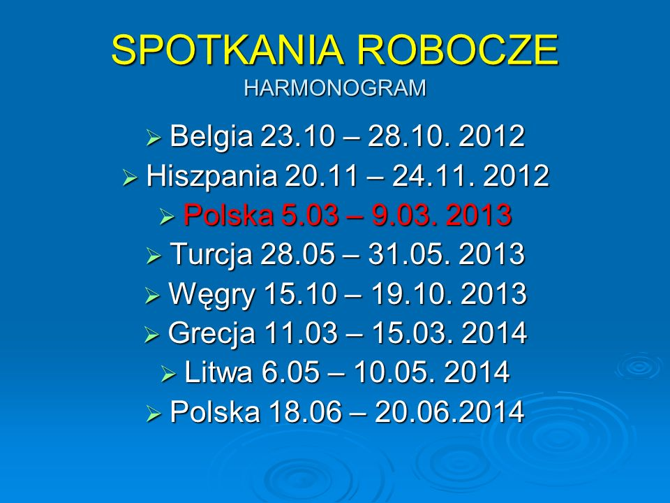 SPOTKANIA ROBOCZE HARMONOGRAM  Belgia 23.10 – 28.10.