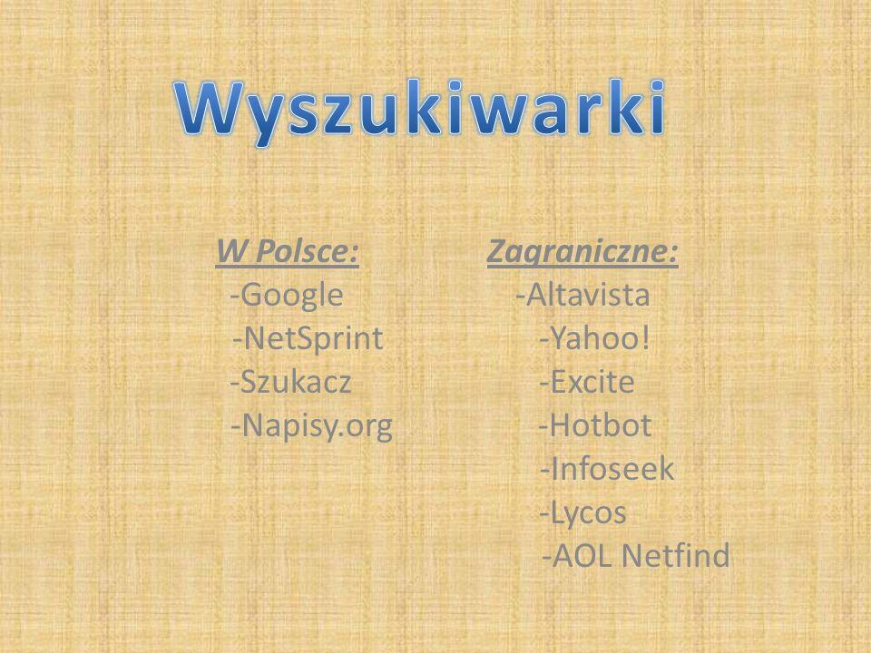 W Polsce: -Google -NetSprint -Szukacz -Napisy.org Zagraniczne: -Altavista -Yahoo! -Excite -Hotbot -Infoseek -Lycos -AOL Netfind