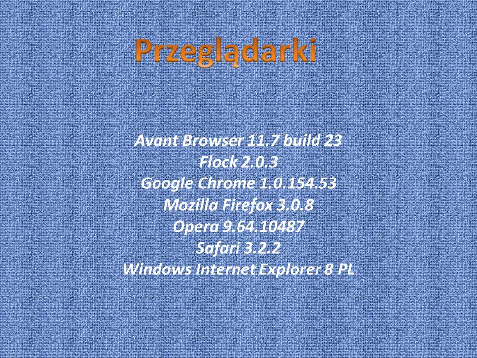 Avant Browser 11.7 build 23 Flock 2.0.3 Google Chrome 1.0.154.53 Mozilla Firefox 3.0.8 Opera 9.64.10487 Safari 3.2.2 Windows Internet Explorer 8 PL