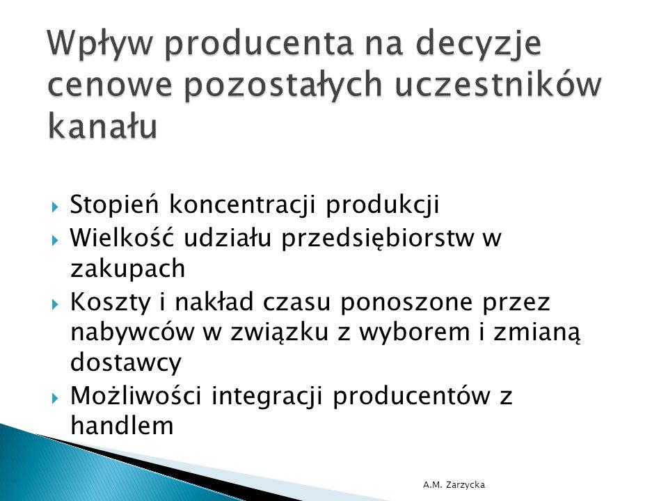  Stopień koncentracji produkcji  Wielkość udziału przedsiębiorstw w zakupach  Koszty i nakład czasu ponoszone przez nabywców w związku z wyborem i zmianą dostawcy  Możliwości integracji producentów z handlem A.M.