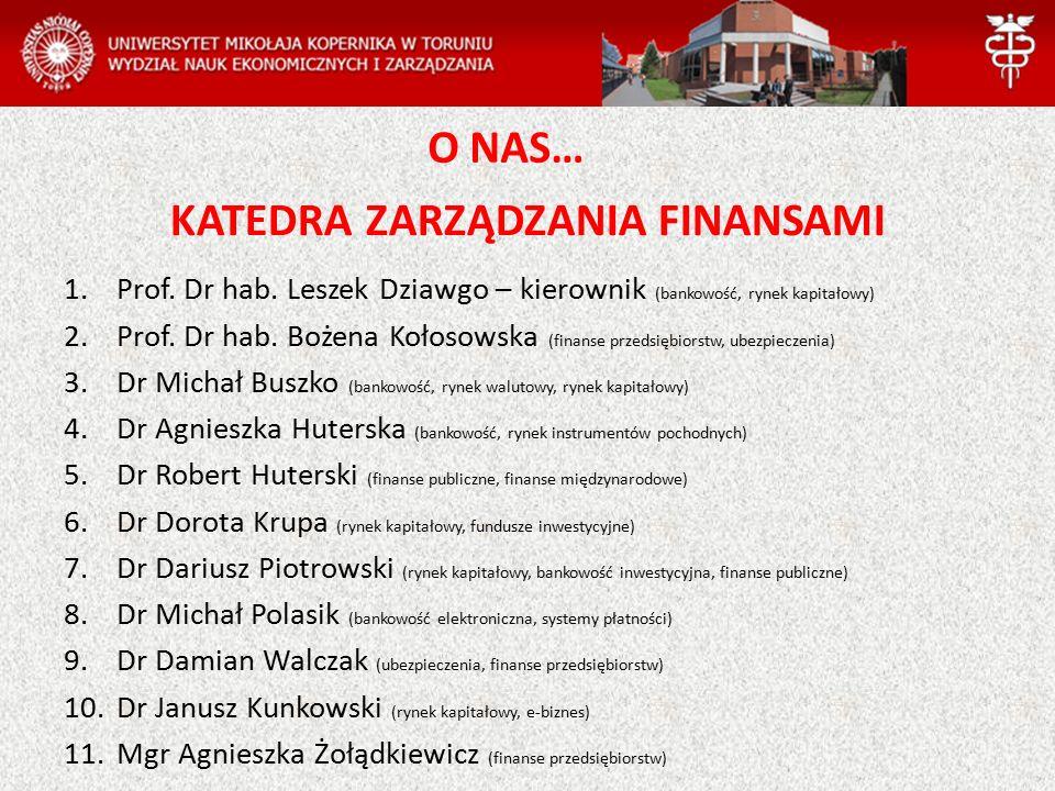 KATEDRA ZARZĄDZANIA FINANSAMI 1.Prof. Dr hab.