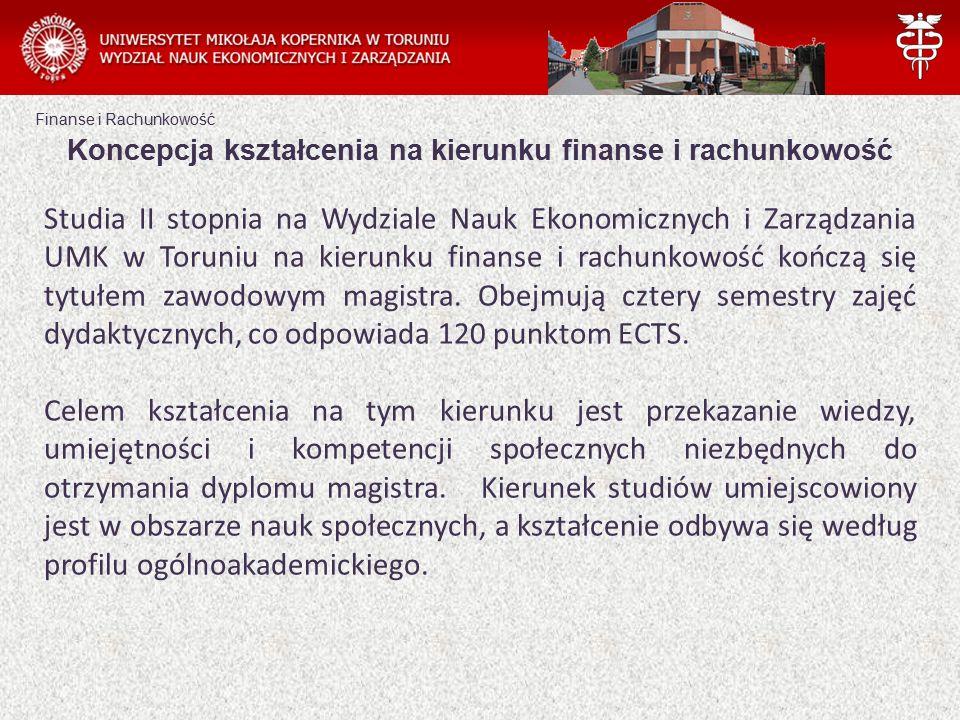 Finanse i Rachunkowość Koncepcja kształcenia na kierunku finanse i rachunkowość Studia II stopnia na Wydziale Nauk Ekonomicznych i Zarządzania UMK w Toruniu na kierunku finanse i rachunkowość kończą się tytułem zawodowym magistra.