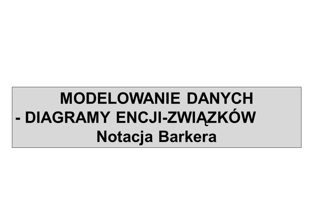 MODELOWANIE DANYCH - DIAGRAMY ENCJI-ZWIĄZKÓW Notacja Barkera