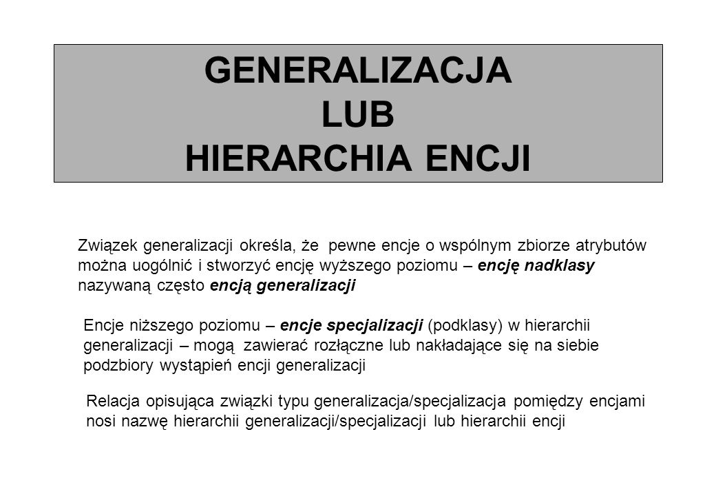 GENERALIZACJA LUB HIERARCHIA ENCJI Związek generalizacji określa, że pewne encje o wspólnym zbiorze atrybutów można uogólnić i stworzyć encję wyższego